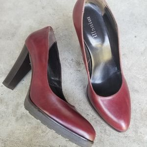 Minelli Burgundy Red Leather High-heel Pumps sz 39